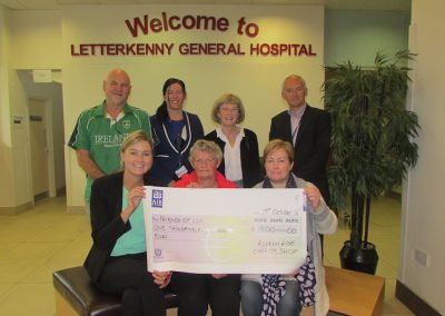 Fundraising cheque presentation from Rummage Charity Shop, Ballybofey.