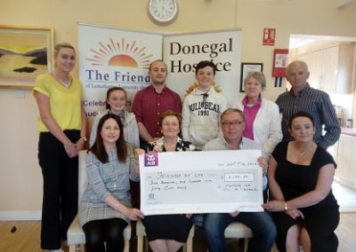 Mrs Teresa McLaughlin (Miller) presenting a cheque to the Friends of LUH.
