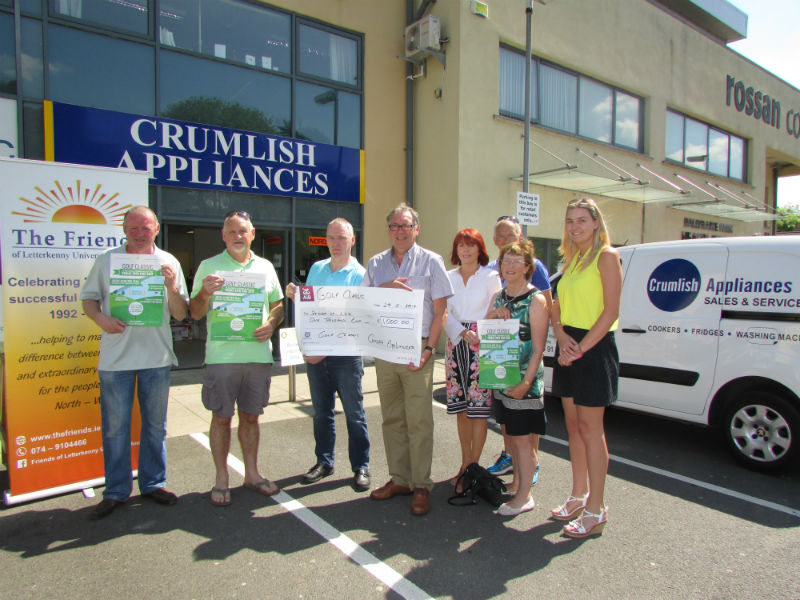 Presentation of sponsorship cheque by Crumlish Appliances